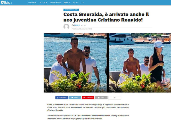 Ronaldo cover Olbia.it